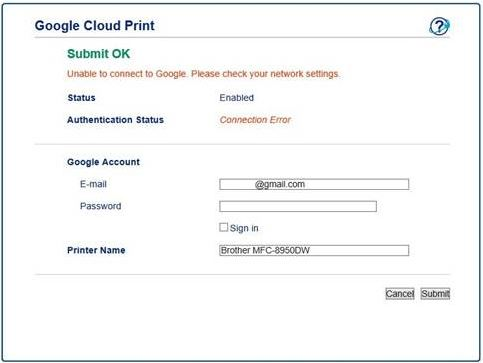 Authentication or Connection error during Google Cloud Print setup